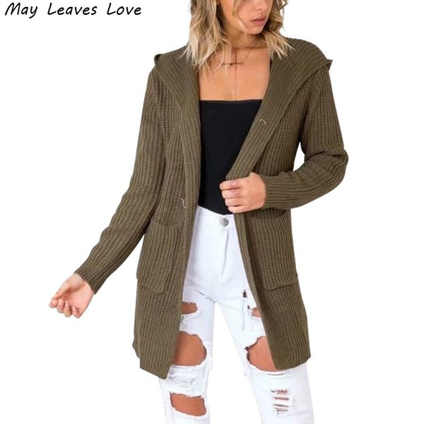May Leaves Love Solid Hooded Knitting Cardigans Women Fashion Back Lace Up Mid-long Sweaters 5 Colors