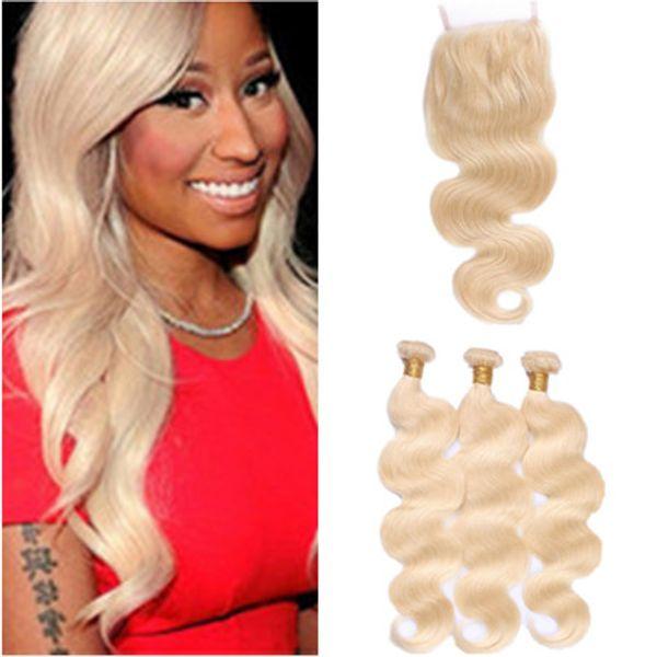 Body Wave # 613 Blonde Bundle de cheveux vierges Offres 3Pcs avec 4x4 Fermeture Top en Dentelle 4Pcs Lot Russe Blonde Cheveux Humains Tisse avec Fermeture