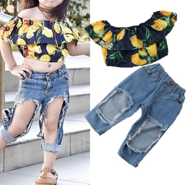 Baby girls kids Two Piece suit Children's clothes 2018 new foreign trade children's clothing girl lemon ear shirt hole jeans 2 piece suit