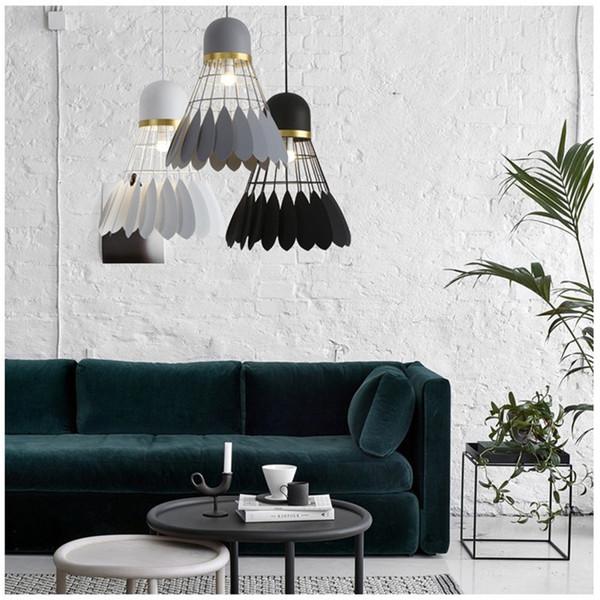 Neue nordische Feder Pendelleuchte Cafe Bar Restaurant hängende Beleuchtung moderne minimalistische Eisen Schlafzimmer Leuchte, Drop Shipping