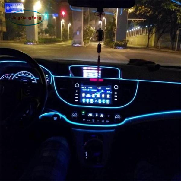 1 pz 1m flessibile EL Wire Noen Light 10 colori DC 12V auto interni a LED Strip Light Auto fai da te lampada atmosfera