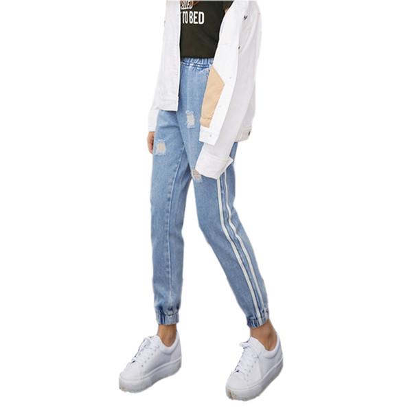 Großhandel 2018 New Vintage Holes Jeans Frauen Casual Denim Hose Frühling Sommer Hohe Taille Zerrissene Jean Damen Weiß Striped Side Bottom S XXL