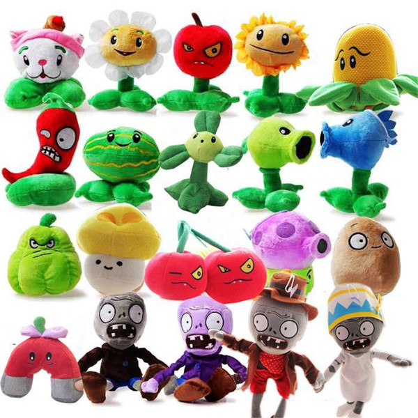 """New 5"""" Plants VS Zombies Soft Plush Toy With Sucker A full 1 set 14 pcs OTH864"""