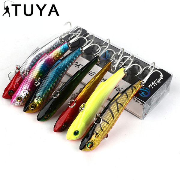 7pcs/set 7.3cm 18.95g Wobbler Fishing Lure Minnow Bass Lifelike Bionic VIB Lure 6# Owner Hooks Peche Isca Artificial 37#