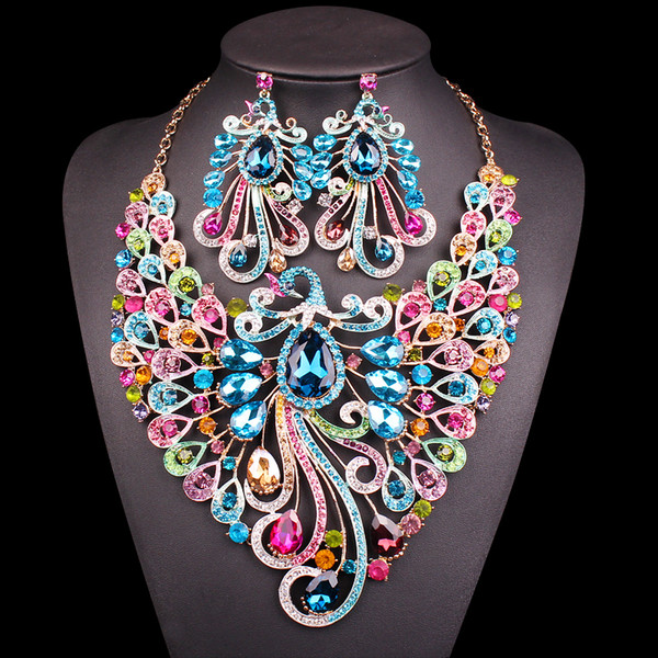 Big Crystal Bridal Jewelry Sets Wedding Party Costume Accessory  Necklace Earrings for bride Peacock jewellery sets Women