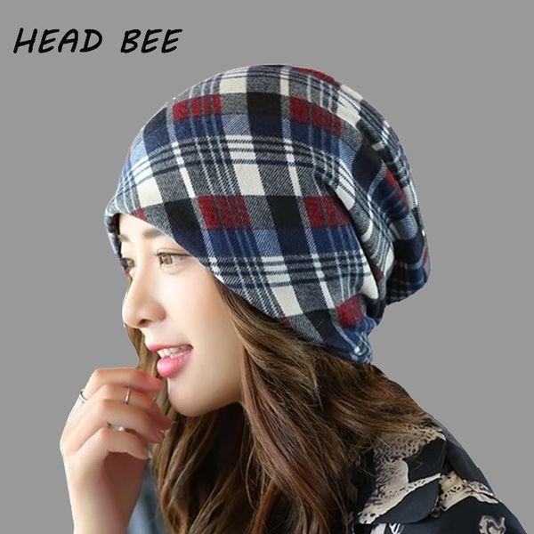 HEAD BEE  Brand Beanies Hat Cotton Colors Lattice Knitted Cap Striped Warm Lady  Winter Cap for Women Bonnet Hat fd06441cb44c