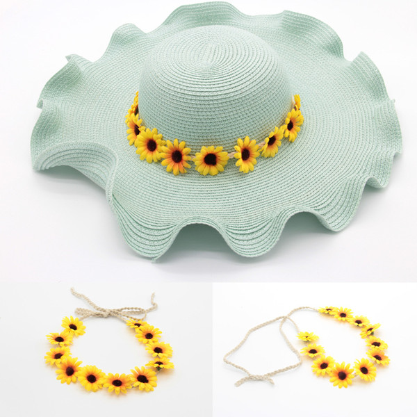 5Pcs Handmade Summer Bohemian Sunflower Headband Woman Wedding Party Hair Accessories Bridal Wedding Flower Garland Wreath