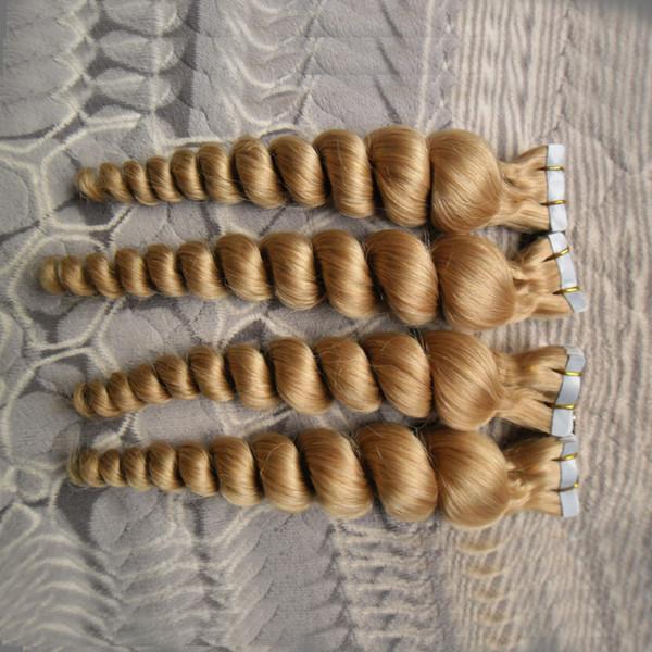 Nuevas extensiones de cabello Indian Remy Tape 200g 80pcs Extensiones de cabello de cinta suelta Cinta de trama de piel rubia en extensión de cabello 16