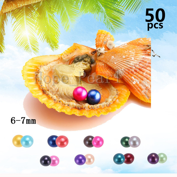 50PCS 6-7mm Mix 30 Colors Twins Pearls Different Colors Scallop Oyster Individual Vacuum Package Colorful Round Pearl Fedex Free Shipping