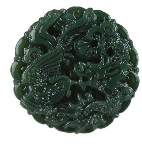 TJP natural carved round Dragon and phoenix HETIAN jade pendant China QINGYU green necklace pendants