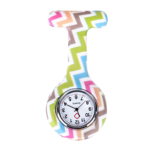 Wave pattern Silicone Nurses Brooch Tunic Fob Pocket Watch Stainless Dial