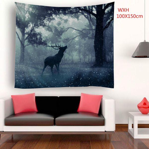 tassel wall decor.htm 100x150cm wxh forest elk david deer polyester wall hanging  100x150cm wxh forest elk david deer