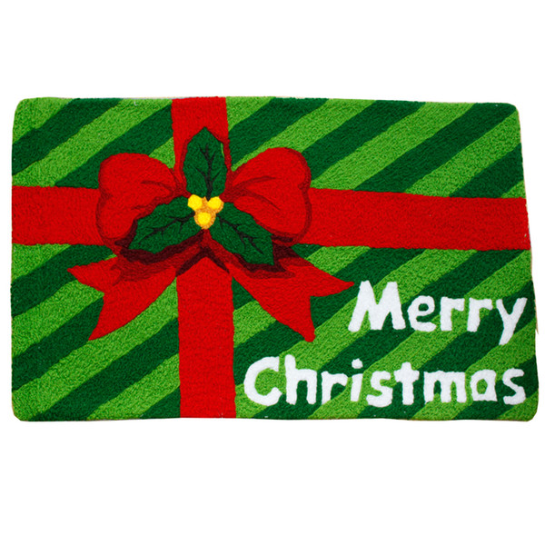 Christmas Red Green Floor Door Mats Hallway Entrance Hand Hooked Welcome Mats Rugs Merry Christmas Party Decorative Doormats Best Gift