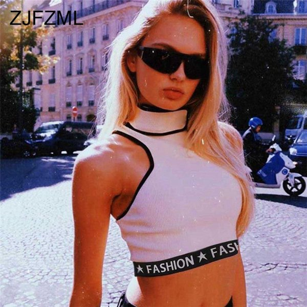 ZJFZML Brief Drucken Sleeveless Sexy Crop Tops Frauen Herbst O Hals Kurze Tank Tops 2018 Neue Mode Weibliche Patchwork Strickoberteil