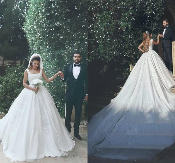 Vintage Lace Applique Disse Mhamad vestido de Baile Vestidos de Casamento Correias Capela Trem Vestidos de Noiva Custom Made