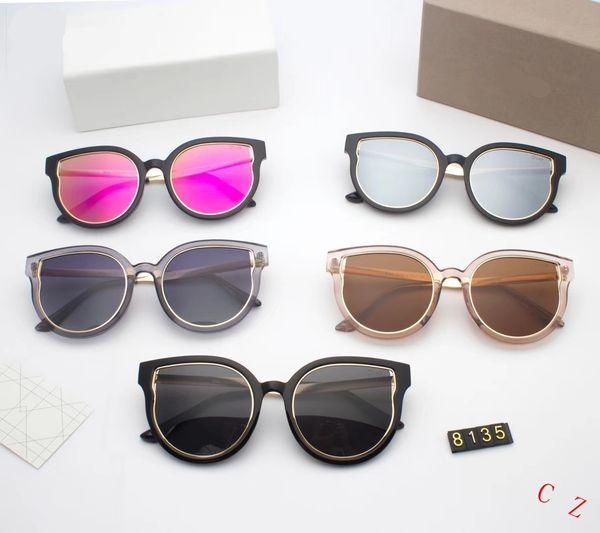 Top Fashion Brand Pilot tom Sunglasses Designer Sun Glasses For Men Women Gradient Alloy Metal Gold Blue Glass Lens Original Case Box #8135