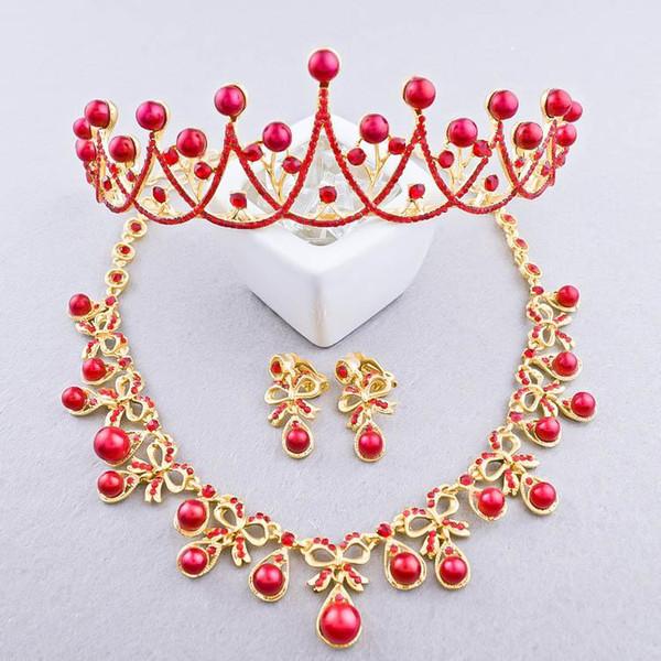 Accesorios nupciales nuevo estudio de tocado de boda coreano boda foto rojo corona collar pendientes conjunto de tres Nuevo estilo