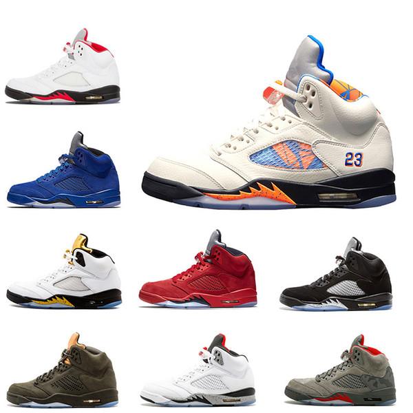 Chaussure de basketball 5 5s hommes INTERNATIONAL FLIGHT Olympique Or métallique Ciment OG Métallique Combinaison de vol bleu Suede Sport Sneakers 7-13