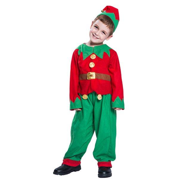 Weihnachten Kostüm für Kinder Weihnachtsmann Cosplay Jungen Weihnachten Elf Kleidung Uniform Hut Anzug Kind Neujahr