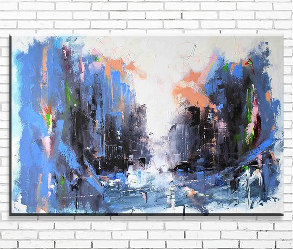 1 Pcs Abstract Wall Art Canvas Print Painting Blue Black Graffiti Street Artwork Piccture for Lving Room Decor Large
