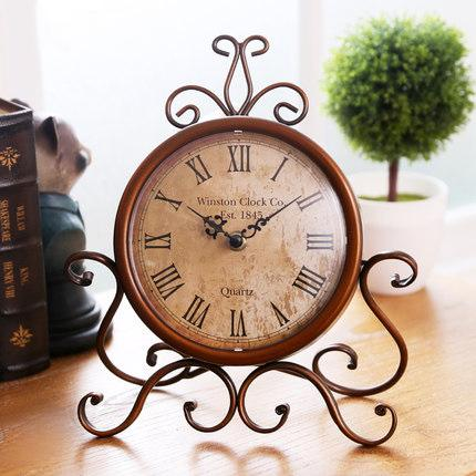 European Antique Style Nostalgia Sitting Room Iron Desk Clock DC-ZT009