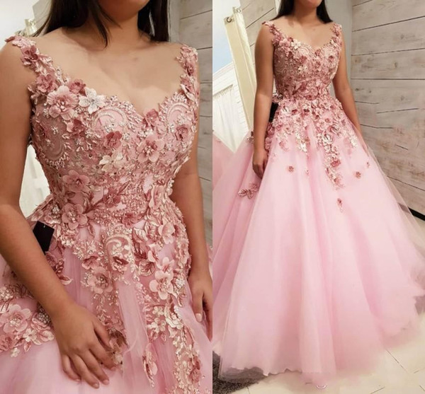 2018 Romantic Baby Pink Petal Evening Dresses V Neck 3D Flower Lace Appliques Illusion Beaded A Line Puffy Long Celebrity Party Prom Gowns