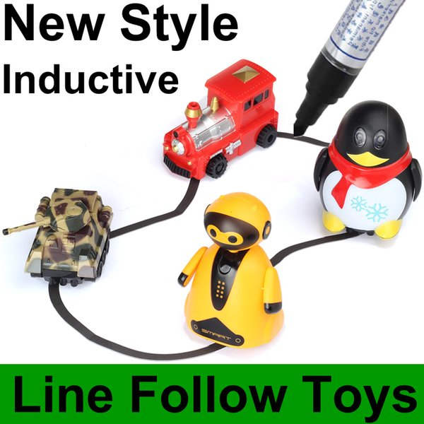 Magic Pen Inductive Car Penguin With Light Following By Drawn Black Line Track Mini Toy For Children FSWOB