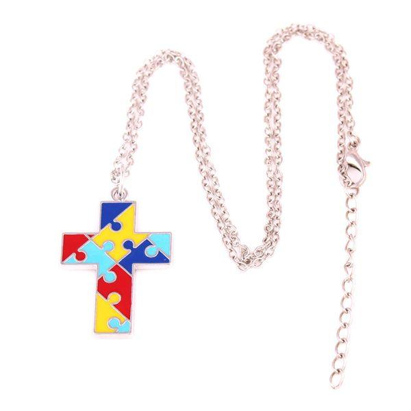 Hot Sale Pendant Necklace For Women Men Cross Shape Jigsaw Puzzle Pattern Colorful Enamel Gift Zinc Alloy Provide Dropshipping