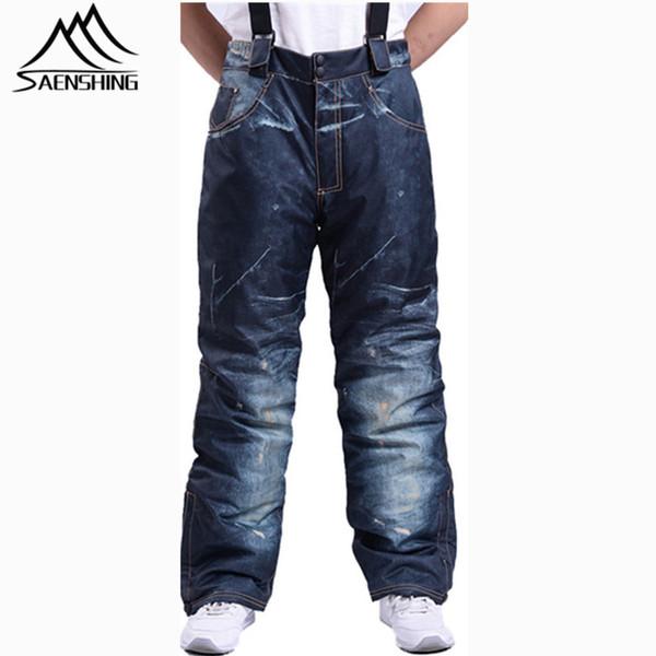 Wholesale- SAENSHING Unique Snow Pant Men Cotton Pad Warm Snowboard Pant Ski Trousers Waterproof Breathable Warm Winter Skiing clothes