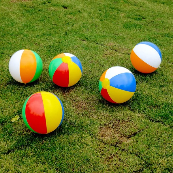 30cm color inflatable ball children's play water polo color beach toys ball PVC inflatable rainbow ball T2I357