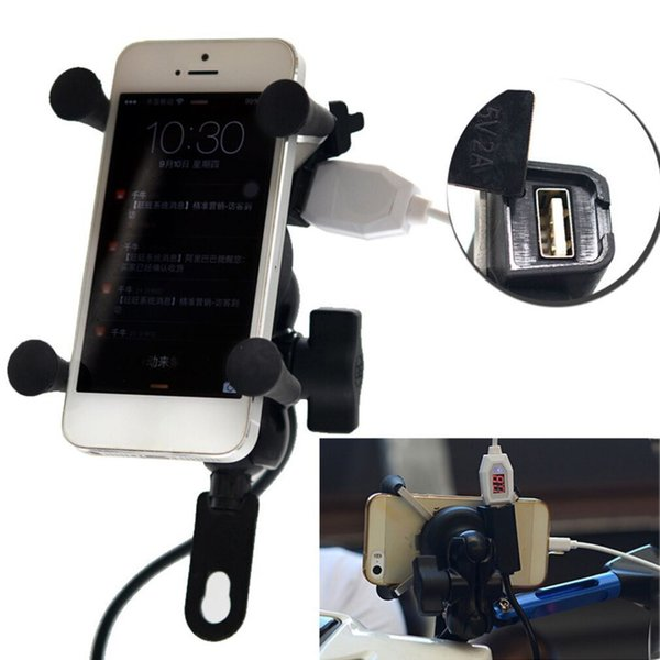 hot 12V Bicycle Motorcycle Phone GPS Stand Holder USB Charger Power Outlet Socket For 3.5-6 inch Mobile Phone car