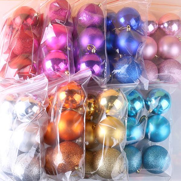 6PCS/lot DIY Christmas Tree Ball Baubles Xmas Party Wedding Christmas Hanging Ornament Decoration 8 Colors