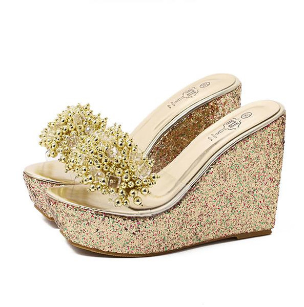 Glitter Sequined Clear PVC Platform Wedge Sandals Slipper Women High Heel Slipper Shoes Black Gold Silver size 34 to 40