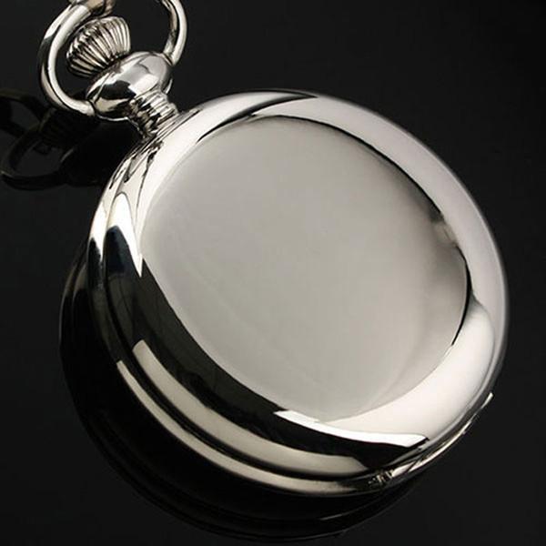 Tam Hunter Gümüş Cep Saati Pürüzsüz Yüz Kolye Saat Roma Numarası Ekran Kuvars Cep Saatler Zinciri ile Unisex Retro Gif