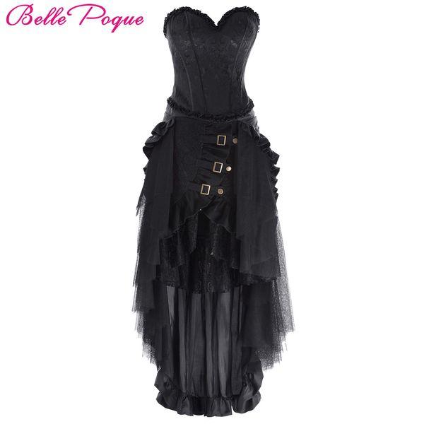 Belle Poque Steampunk Falda Mujer 2017 Retro Sólido Con Cordones Negro Ruffle Largo Maxi Falda Verano Otoño Fiesta Vintage Faldas Góticas