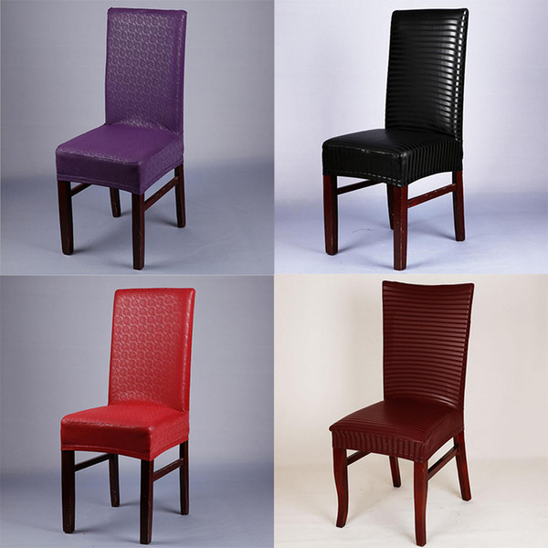 Excellent Pu Chair Covers Elastic Waterproof Spandex Faux Leather Dining Chair Seat Covers Stretch Chair Slipcovers For Weddings Banquet Hotel Home Chair Covers Machost Co Dining Chair Design Ideas Machostcouk