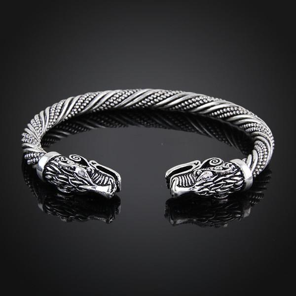 Viking Bracelet Hommes Bracelet Manchette Bracelets Pour Femmes Bracelets Adolescent Loup Tête Bracelet Indien Bijoux Accessoires de Mode