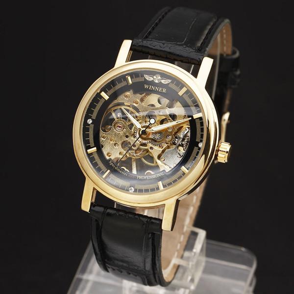 Nuevo GANADOR Hueco Mecánico Mano-Viento Hombres Mujeres Relojes Esculto Clásico Esqueleto Dial Oro Reloj de pulsera de Cuero Genuino