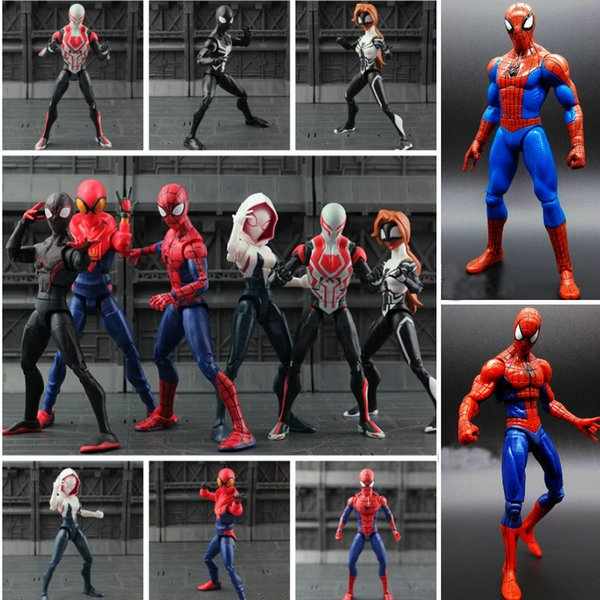 Toys Hobbies Action Toy Figures Movie SpiderMan Homecoming Gwen Stacy Spider Woman Spider Man 2099 Cartoon Toy Action Figure Model Doll Gift