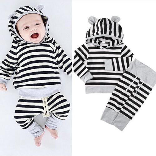 Set di strisce da ragazzo Vieeoease INS Abbigliamento bambino 2018 Top manica lunga moda primavera + pantaloni a pois 2 pezzi DR-336
