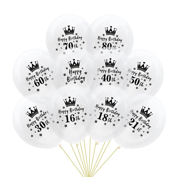 12'' Black Crown Balloons 2.8g Thick Number inflatable Latex birthday Ballons party Decor Palloncini Wedding Xmas Christmas Halloween Gifts