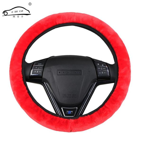 Housse de volant de direction en fourrure de voiture épaissie à haute densité universelle / nouvelle housse de volant de direction en peluche hiver chaude douce