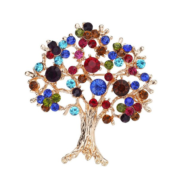 Wholesale Christmas Day Gift Xmas tree crystal tree Brooch Gift Pin Colorful Snail Brooches Pins Jewelry Brooches for Men Women