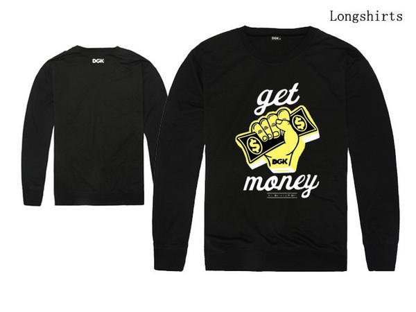 Die DGK-T-Shirts der Männer lange Hülse O-neck Mannfrauen Herbst-Winter neue Ankunft PIF HBA spezielles Hip-Hop dünnes Sweatshirt freies Verschiffen