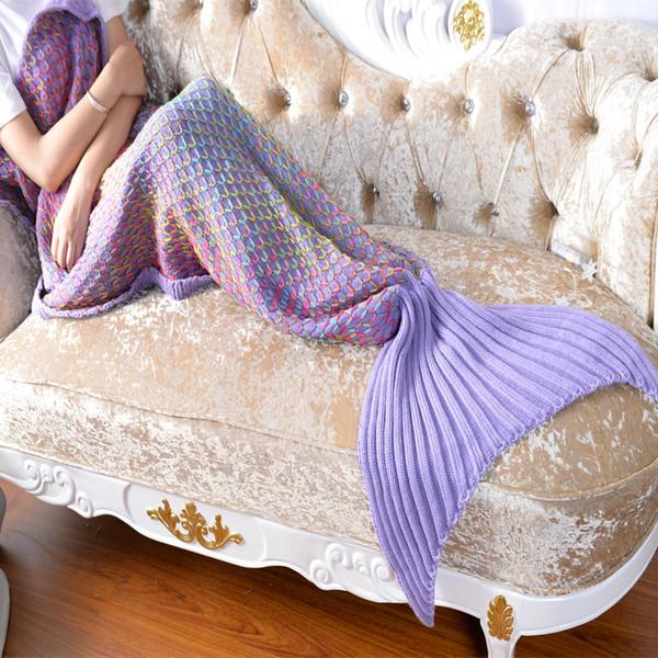 Luxo colorido cobertores Da Cauda da sereia adulto sofá de malha cobertor colcha tapete casulo saco de dormir cobertores de cauda grade de escala de peixe presentes de natal