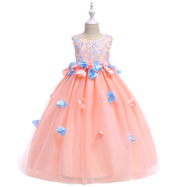 Retail Beauty Appliques Petal Princess Evening Prom Gown Long Dress With Big Sashes Embroidery Cute Flower Girls Dress LP-201