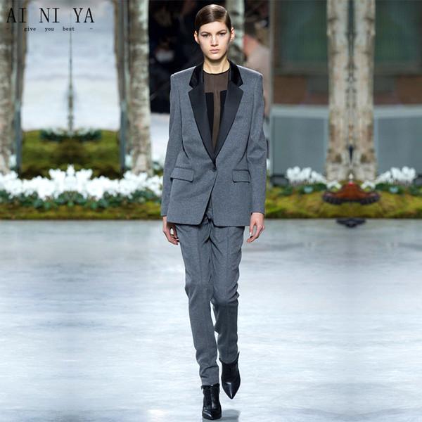Charcoal Womens Business Suits Ladies Elegant Pants Suit Formal OL Long Sleeve Black Satin Lapel Female Trouser Suit Custom Made