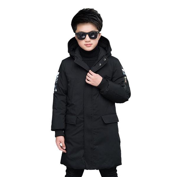 Children's Winter Outwear Boys Thickening Warm Hooded Jackets Kids Patchwork Fashion Long Patten Snowsuits 5-16 Years Children Clothes