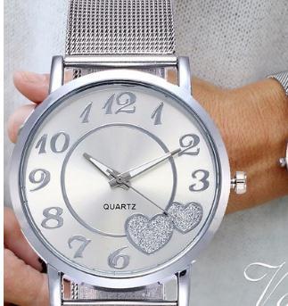 Dropshipping Women Silver & Gold Mesh Love Heart Dial Wristwatches Fashion Casual Women's Steel Quartz Watches Feminino