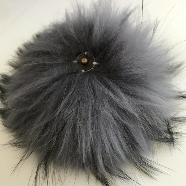 "50pcs 15cm/6"" Grey- Real Raccoon Fur PomPom Ball For Hat Cap Coat Shoes Accessaries w Button"